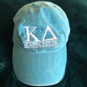 Aqua Blue Kappa Delta Sorority Letter Baseball Hat